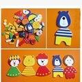 Бесплатная доставка новый дизайн Симпатичные Деревянные Мультфильм Магнитные Фигуры животных головоломки детские игрушки детский образовательный сила