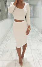Women Autumn Winter Long Sleeve Knitting Bandage Crop Top and Midi Skirt Set Sexy Club Nightclub 2 Piece Set Tracksuit