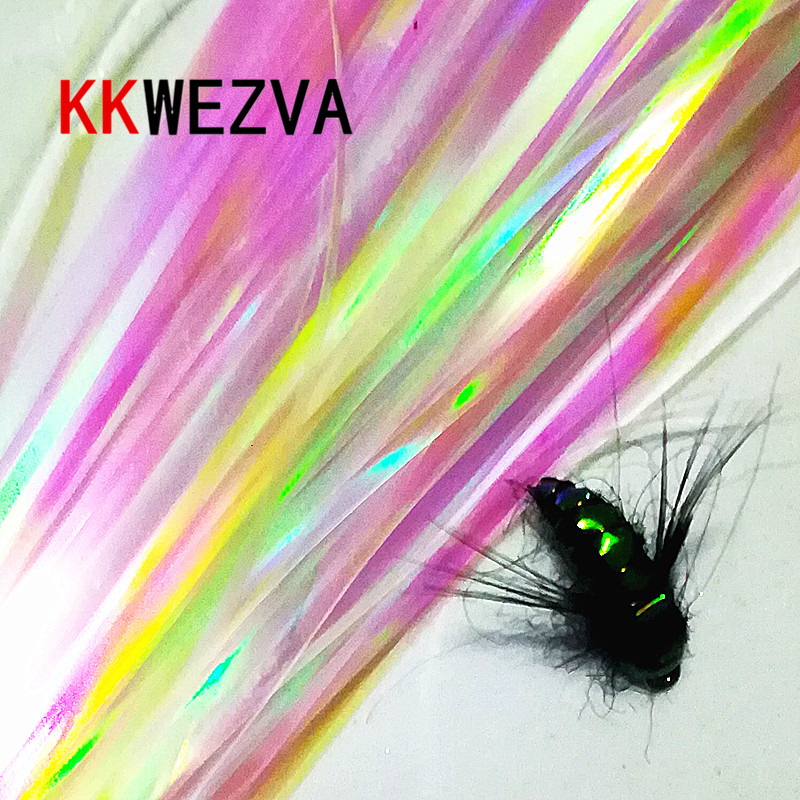KKWEZVA 2 Pack / 60pcs Pearl Color 2mm Width Holographic Tinsel, Mylar Metallic Tinsel Fly Fishing Bait Back Body Material