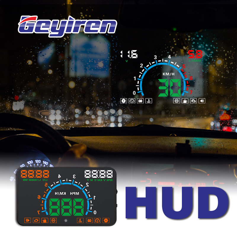 GEYIREN E350 OBD2 II HUD Car Display 5.8 Inch Screen Easy Plug And Play Overspeed Alarm Fuel Consumption display hud projector-in Head-up Display from Automobiles & Motorcycles