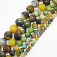 Wholesale 6-16mm Yellow&Green Stripe agates Round Loose Beads 15 sf14,For Jewelry making, can mixed wholesale!