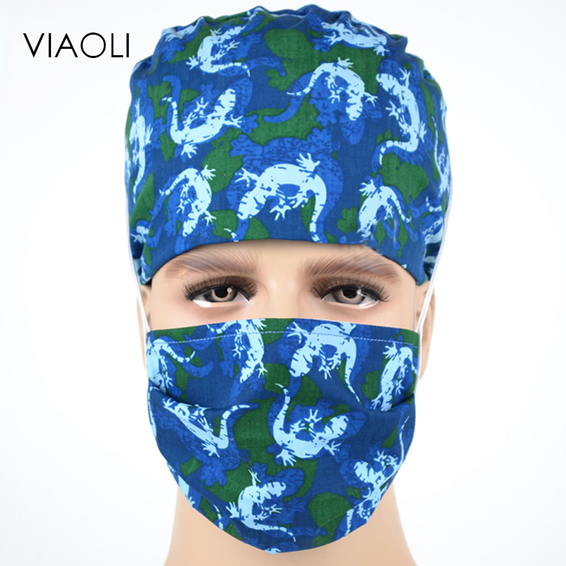 ViaoliEurope And The United States Blue Crocodile Pattern Printing Operating Room Hat Colorful Beauty Doctor Hat Cotton Mask