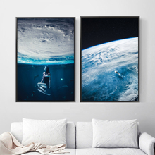 Surrealism The Earth Sea Nordic Posters And Prints Creativity Wall Art Canvas Painting Pictures For Living Room Home Decor