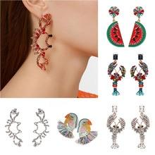 цена на Women Funny Earrings Fish Bird Style Crystal Large Drop Boho Tassel Hanging Statement Earrings Elegant Girls Cute Dangle Earring