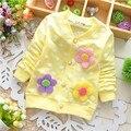Весна 2016 новых хлопка девочки кардиган пальто провести три цветы леденцы куртка кардиган дети детская одежда