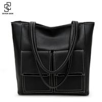 SEVEN SKIN Daily Fashion Women Messenger Bags Litchi Pattern Leather Handbags Female Fashion Designer Large Size Tote Bag bolsas