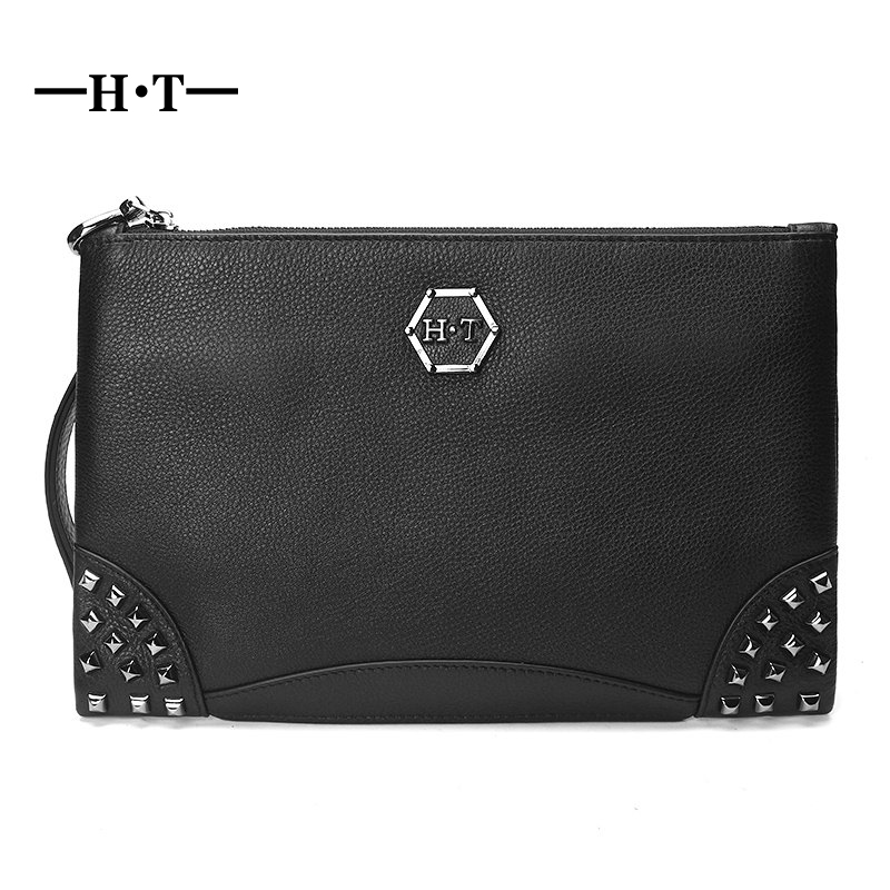 HT Fashion Rivet Day Clutches Mans Handbag Genuine Leather Carry Bag Cowhide Black Purse Male Envelope Bag Casual Clutch Casual new designer woman oil wax genuine leather bag cowhide fashion day clutches long purse female ladies handbag for men famous bags