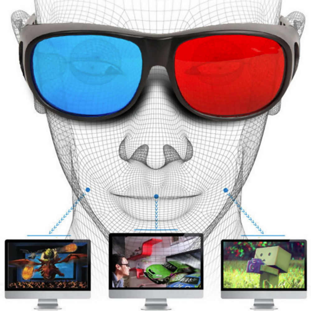 Universal 3D Glasses TV Movie Dimensional Anaglyph Video Frame Glasses DVD Game Anaglyph 3D Plastic Glasses Hot Promotion