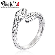 Beier 100% 925 silver sterling simple snake ring for women/men high polish Fashion Jewelry BR-SR012(China)