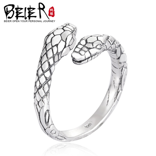 Beier 100% 925 silver sterling simple snake ring for women/men high polish Fashion Jewelry BR-SR012