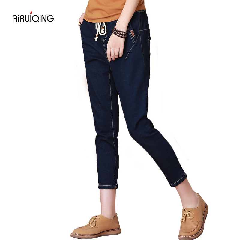 Jeans Lady Ripped Loose Fashion Trousers summer new Korean baggy jeans pants nine female elastic waist pants feet Haren