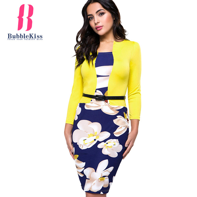 Office Dress Pencil Women Summer Bodycon Sexy Print Plus Size Floral Fake Two Piece Belt Casual Vestidos Bubblekiss Dress Robe