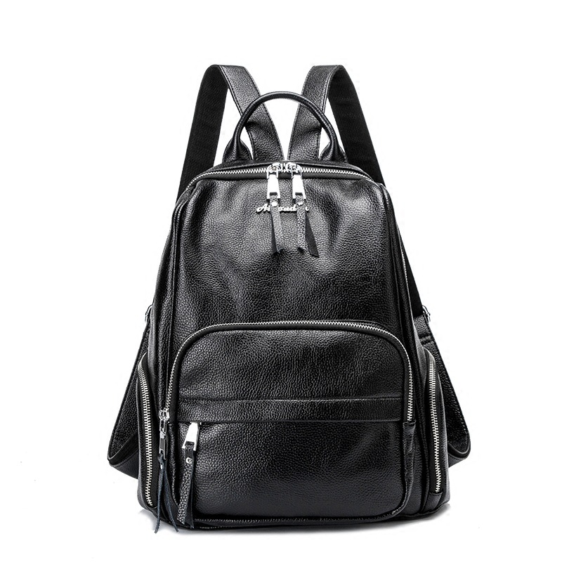 Brand High Quality Soft Real PU Leather Backpacks for Teenage Girls Female School Shoulder Bag Fashion Women School Backpack New annmouler famous brand women leather backpack alligator backpacks high quality elegant shoulder bag black school bag for girls