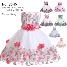 Free Shipping Cotton Lining 3-10 Years Kids Party Dress 2019 New Arrival Pageant Girl Dresses Lace Patchwork Children Prom Gowns
