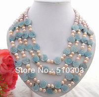 Beautiful 4Strds Pearl Amazonite Necklace