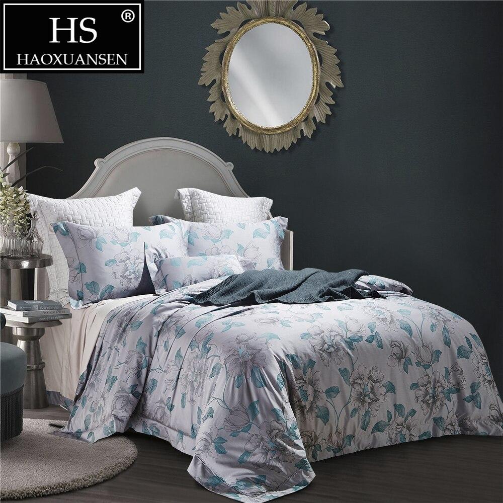 Jacquard Bedding Set Egyptian Cotton 4Pcs Pillowcase Bed Sheets Duvet Cover Set Chinese Brush Painting Grey Rosa Green Leaves