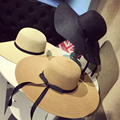 2016 Summer Hats For Women Wide Brim Floopy Sun Hat For Girls Straw Beach Cap Ladies Hats Summer Cap Fashionable Bowknot