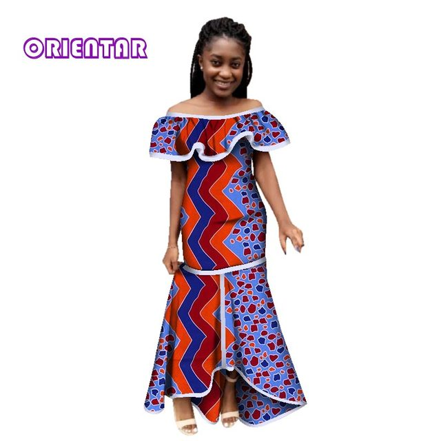 04a5653c51e 2018 New African Tribal National Printing Slash Neck Sexy Long Dashiki  Dresses for Women Africa Bazin Riche Maix Dresses WY2781