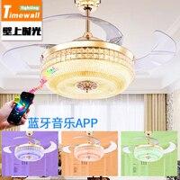 Semplice cristallo nascosta lampada ventilatore a soffitto ristorante ventilatore lampada ventilatore soggiorno Bluetooth musica dal vivo casa romance