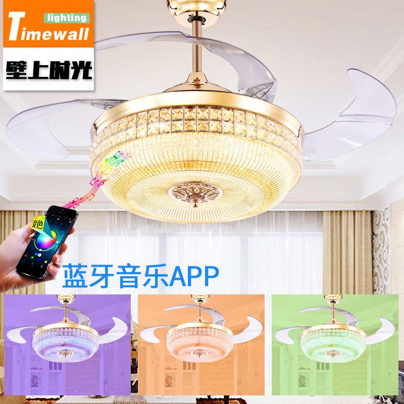 Simple crystal hidden ceiling fan lamp restaurant fan room living room Bluetooth music live fan lamp home romance simple crystal hidden ceiling fan lamp restaurant fan room living room bluetooth music live fan lamp home romance