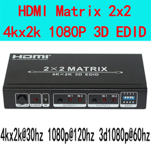 Ultra-high resolution HDMI matrix 2X2 HDMI1.4V 3D,4kX2K resolutions,EDID with Remote control Free shipping