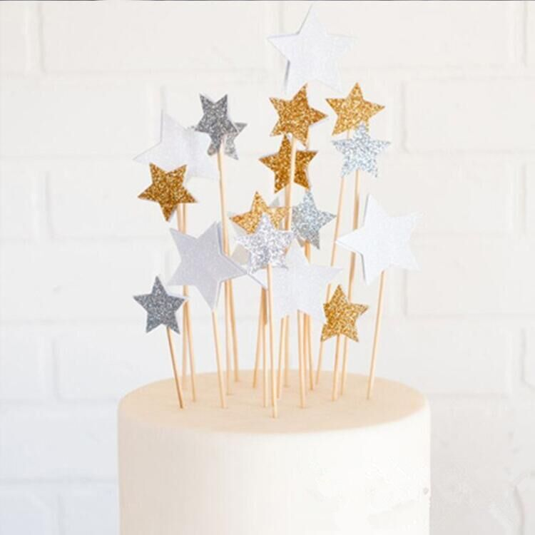 Lovely Star Golden Silver Cake Topper Set for Kids Birthday Party Decoration Supplies Baby Shower Party Decoration 6pcs/lot