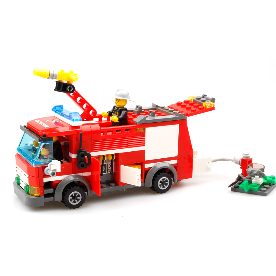 Model Building Blocks Huiqibao Toys 206pcs Fire Fighting Sprinkler Cars Fireman Figures Building Blocks Compatible City Trucks Vehicles Bricks