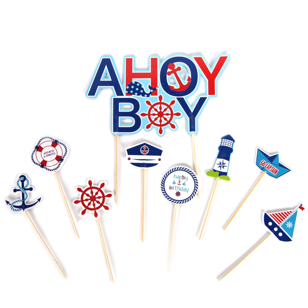 9pc Ahoy Boy Cupcake Toppers Kit Nautical Themed First Birthday Party Whale Anchor lifebuoy Wheel Boat Baby Shower Cake Decor