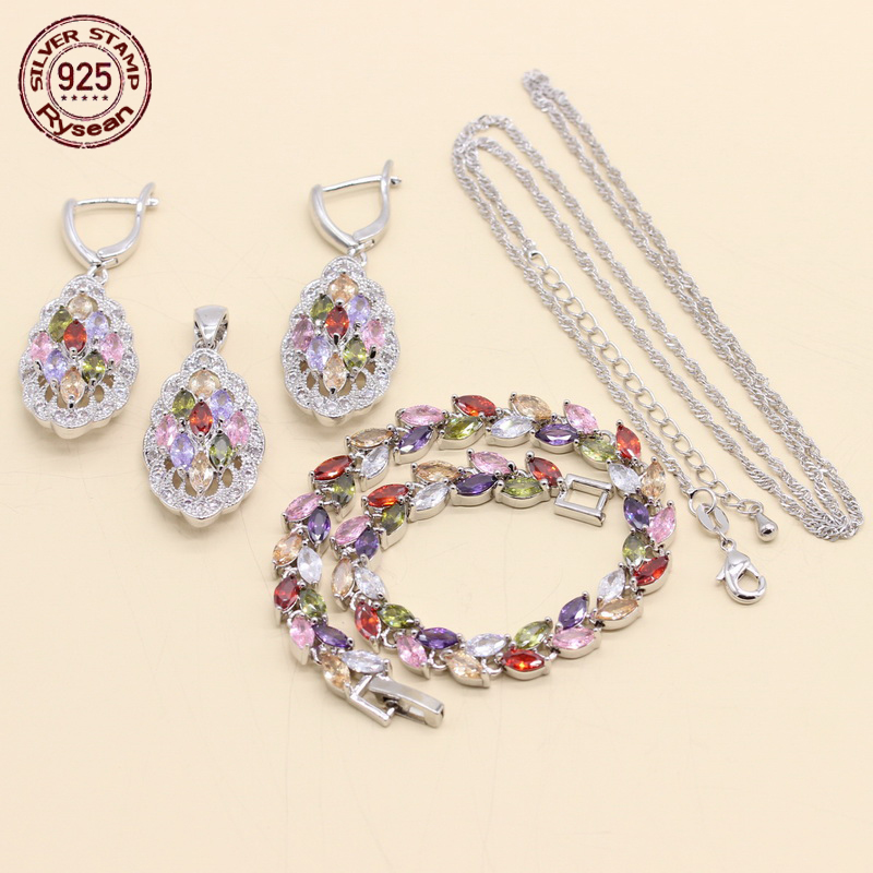 925 Silver Jewelry Sets For Women Dark Blue Crystal White Zirconoia Necklace Pendant Bracelet Ring Earrings Rysean To Have A Unique National Style Wedding & Engagement Jewelry