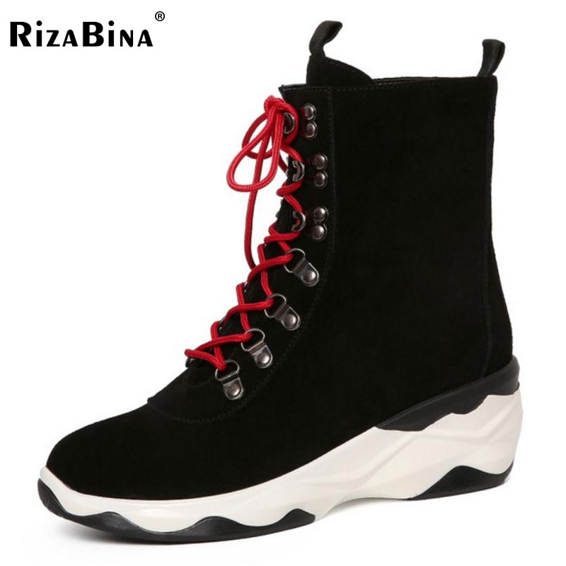 RizaBina Women Real Leaather Cross Strap Flats Boots Women Mid Calf Boots Warm Fur Shoes Winter Botas Woman Footwears Size 34-39 double buckle cross straps mid calf boots