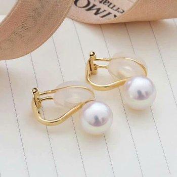 shilovem 18k yellow gold Natural  freshwater pearls stud Earrings fine Jewelry new round women trendy wedding  gift yz8.5-009zz 4