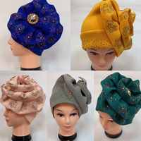 Last designs African Auto Gele headtie Nigerian Headband turban Head wrap cap Women Scarf Cap Wholesale Ladies Hair Accessories