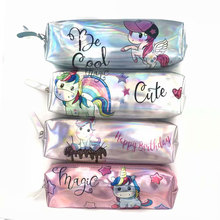 Cute Unicorn Holographic Pencil Case Kawaii Cactus Alpaca Laser Bag for Girl Boy Stationery School Supplies Box