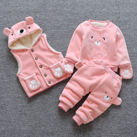BibiCola baby girls clothing sets autumn winter 3PCS cartoon bear warm clothes infant toddler vest+thermal coat+pants for girls