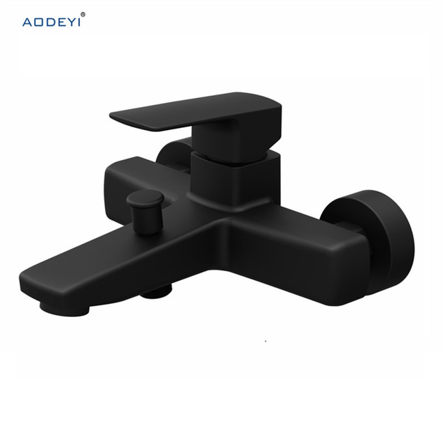 Shower Mixing Faucet Black Chrome Brass Wall Mounted Basin Single Handle Bathroom Mixer Tap