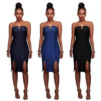 Elegant style 2017 casual dress women sleeveless bandage dress sexy strapless club dress