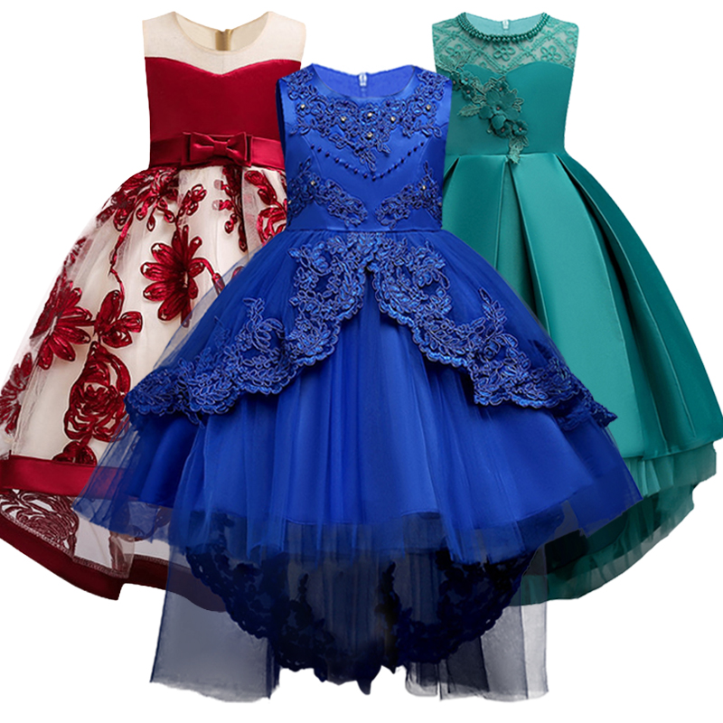 Girls Bridesmaids Embroidery Tailed Dresses Girls Attend Beauty Pageant Exchange Dress Dancing Party Dress Vestidos De Fiesta