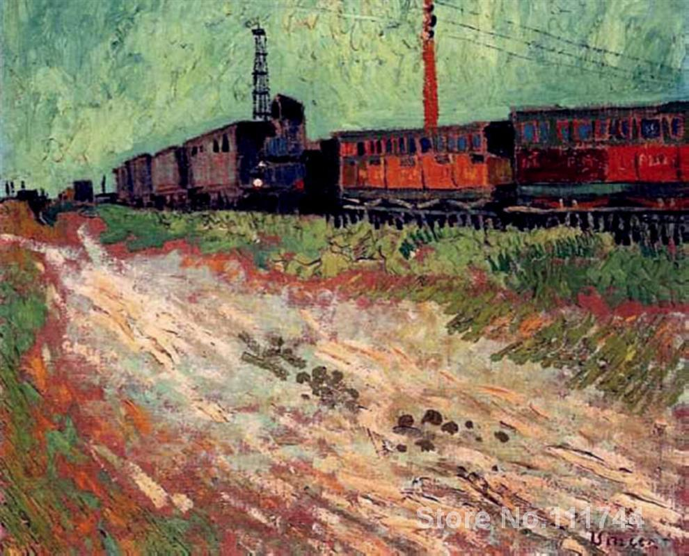 art for living room wall Railway Carriages by Vincent Van Gogh paintings High Quality Hand painted