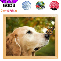 GGDB 5D Diy Diamond Embroidery Golden Retriever Butterfly Cute Dog Square Crystals Resin Diamond Painting For
