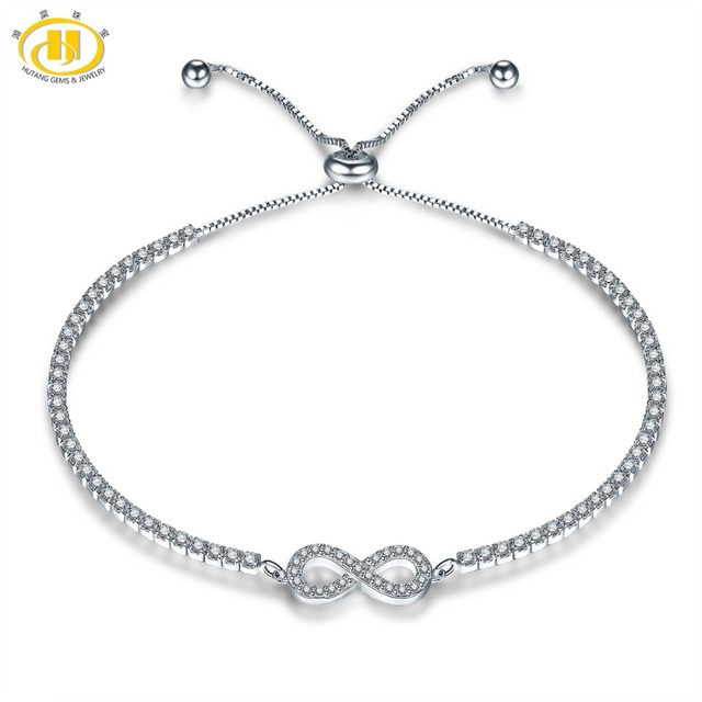 Hutang Crystal Adjustable Bracelets 925 Sterling Silver Infinite for Women Girl Fine Fashion Jewelry Classic Design Great Gift