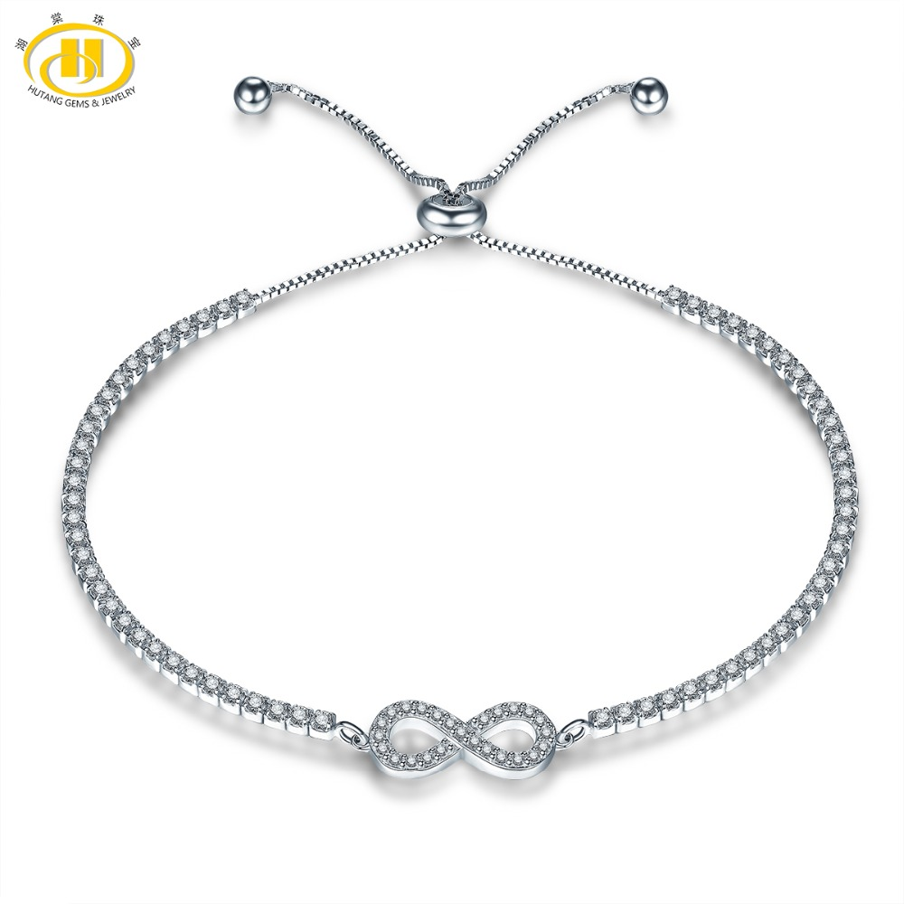 Hutang Crystal Adjustable Women's Bracelet Solid 925 Sterling Silver Infinite for Girl Fine Jewelry Classic Design Great Gift(China)