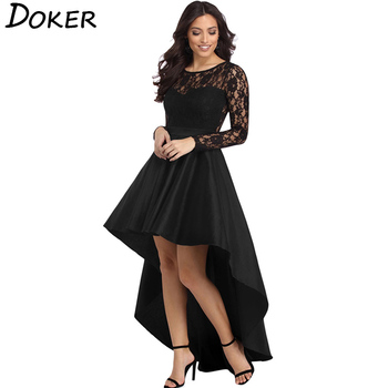 New Lace Patchwork Elegant Dress Women O-neck Long Sleeve Asymmetrical Large Swing Dress Ladies Sexy Hollow Evening Party Dress black swing long sleeve dress