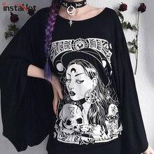InstaHot Cloak Batwing Sleeve Loose T Shirt Gothic Punk Black Halloween Top Harajuku Women Autumn Summer Aesthetic shirt