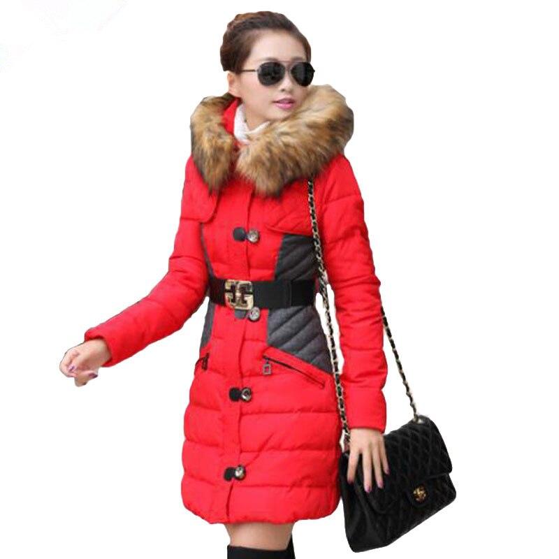 ФОТО 2016 Fashion Warm Hooded Cotton Coat Fur ClothingWomen Winter Jacket  For Female Winter Outwear Wadded