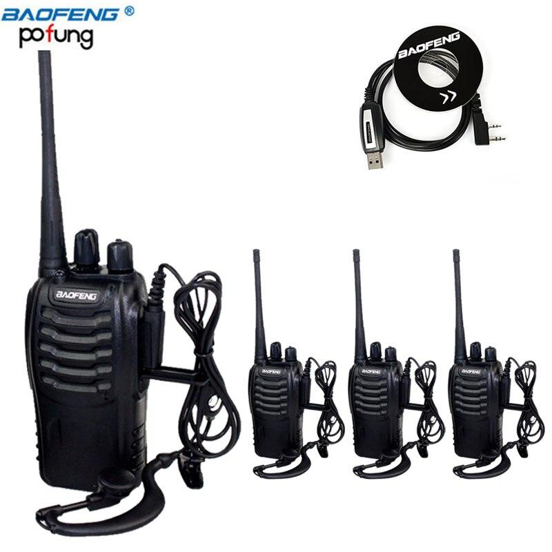 4Pcs Baofeng BF 888S MINI Walkie Talkie Transceiver UHF Intercom BF888S CB Two Way Radio Handheld
