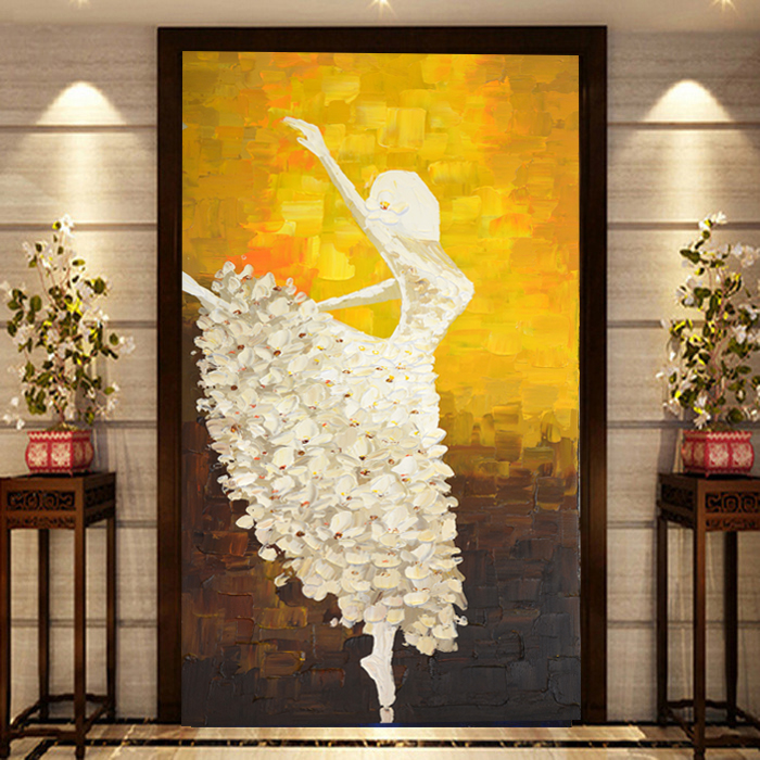 Free Shipping European style entrance hallway painted 3D stereo background wall paper abstract painting large mural ballet dance free shipping 3d stereo entrance hallway custom wallpaper vertical version european oil painting wallpaper mural