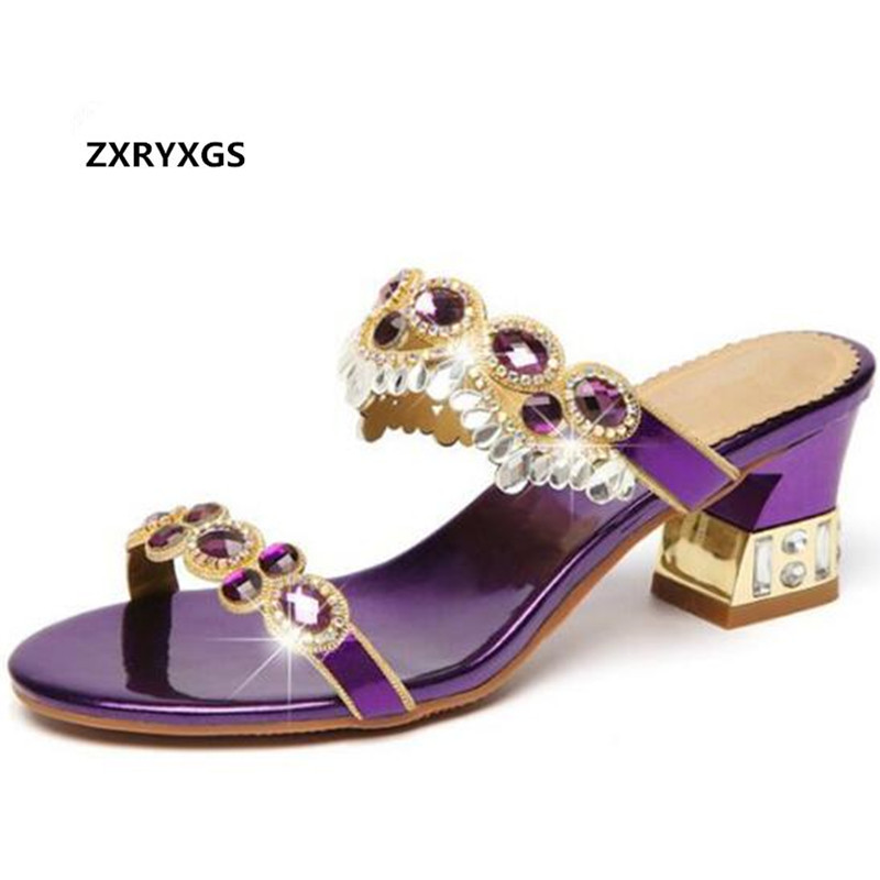 ZXRYXGS brand sandals women slippers 2019 new summer open toe Rhinestone shoes woman fashion sandals thick heel women sandals-in Middle Heels from Shoes    1