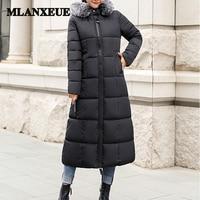 Bread suit slim cotton long down coats women with fur trim hat windbreaker hooded zipper pockets plus size office lady coats