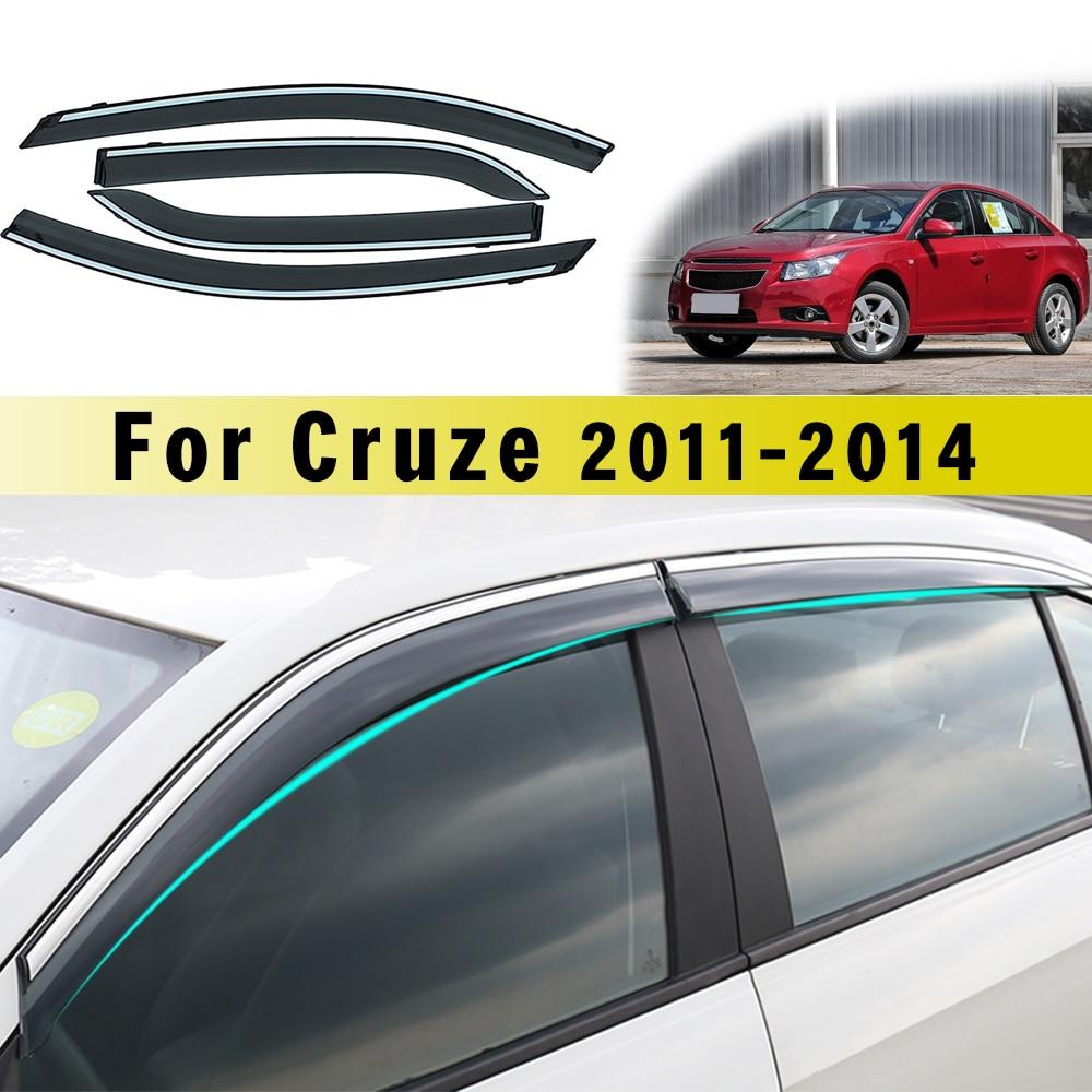 Car Sunny visor ABS Car Styling Smoke Window Sun Rain Visor Deflector Guard For Chevrolet Cruze Sedan 2011 2012 2013 2014