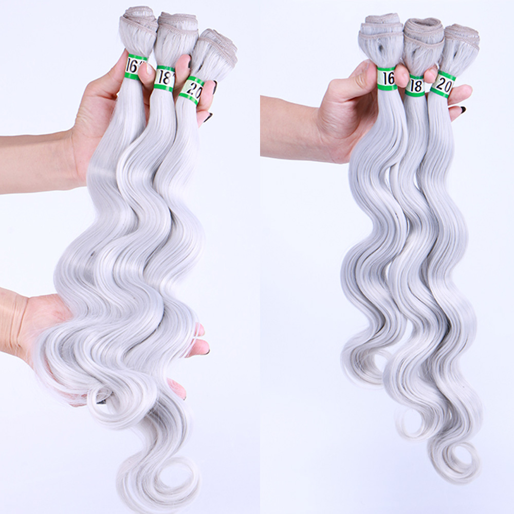Delice 3 Bundles 16 18 20 Body Wave Hair Weaving Black Blonde Gray Hair Weft Heat Resistance Synthetic Hair Extensions